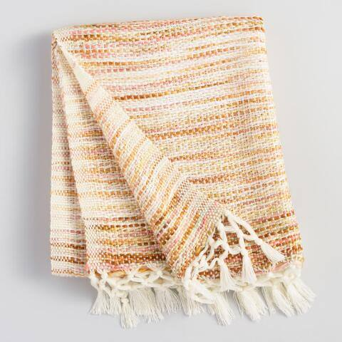 Warm Stripe Knit Throw Blanket