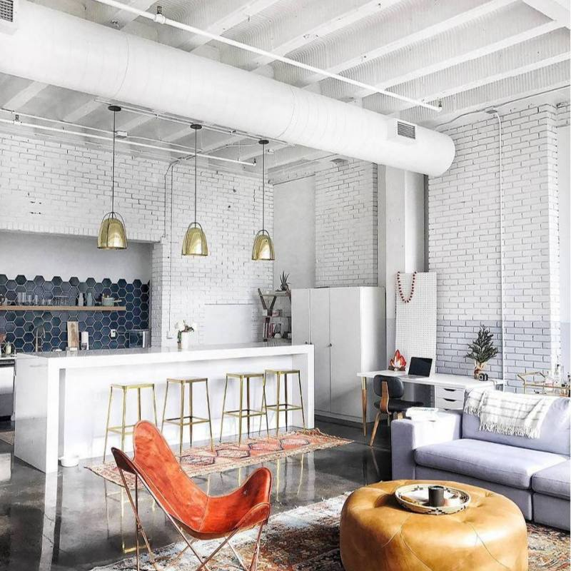 Eclectic modern industrial loft living room