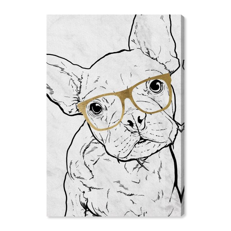 Frenchie with Gold Glasses Canvas Wall Art