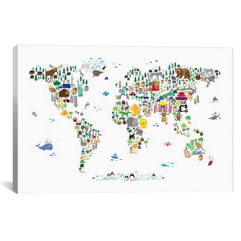 "26""x40"" Animal Map of The World by Michael Tompsett Unframed Wall Canvas Print White - iCanvas"