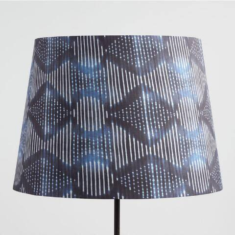 Indigo Blue Tribal Linen Table Lamp Shade