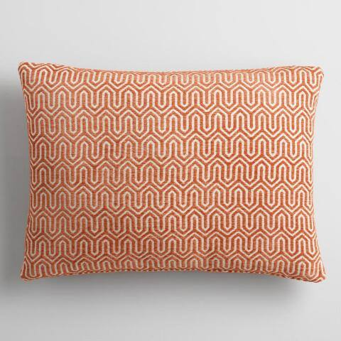 Rust Geo Chenille Lumbar Pillow