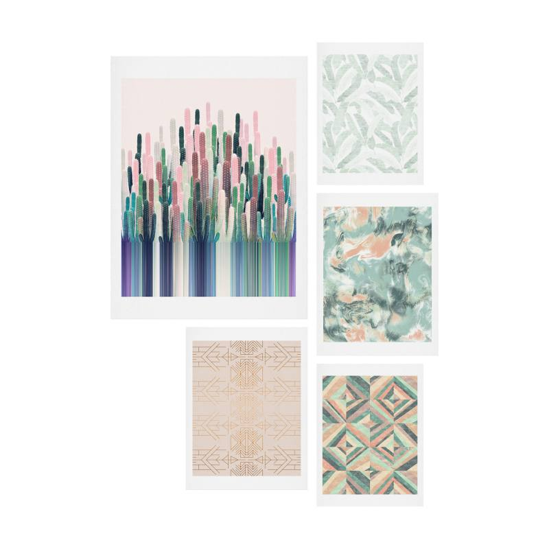 Matcha Blush Five-Piece Gallery Wall Art Print Set