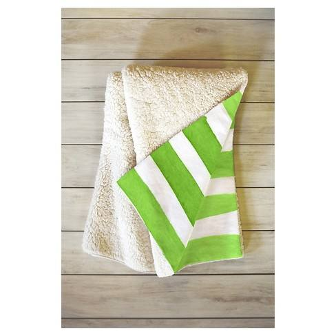 "Green Stripes Social Proper Spruce Stripes Sherpa Throw Blanket (50""X60"") - Deny Designs�"