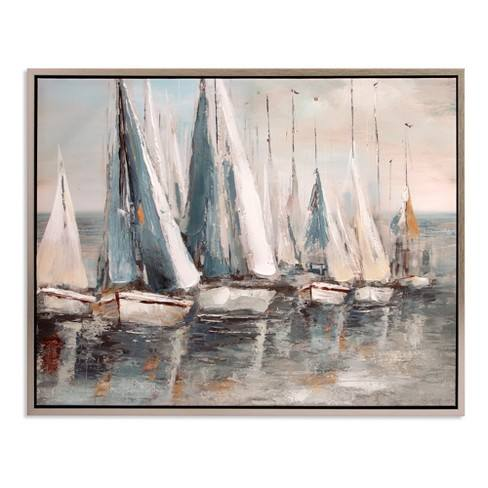 "30""x38"" Painterly Sailboats Coastal Framed Canvas Art Silver - Patton Wall Decor"