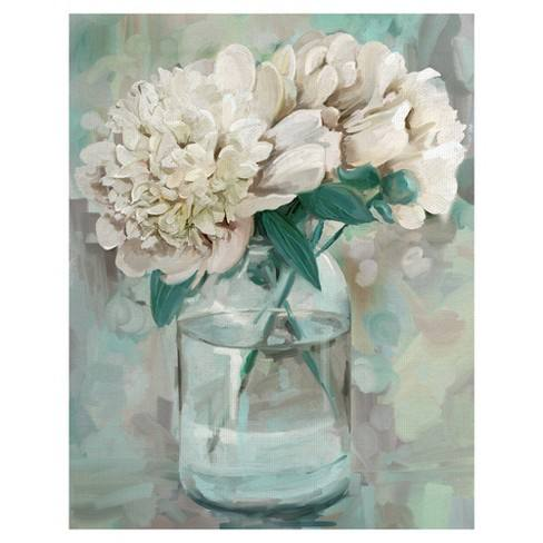 "22""x28"" Farmhouse Peonies I By Studio Arts Art On Canvas - Fine Art Canvas"