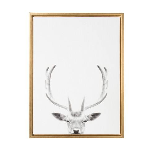 "Kate & Laurel 24""x18"" Sylvie Deer with Antlers And Portrait By Simon Te Tai Framed Wall Canvas Gold"