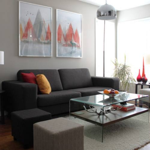 Contemporary grey small living room by Leclair Decor