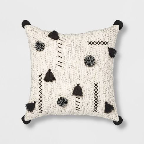 Abstract Tassel & Pom Square Throw Pillow Cream/Black - Opalhouse�