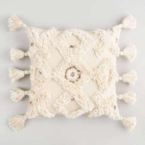 Ivory Moroccan Throw Pillow