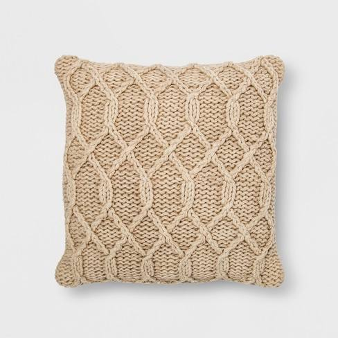 Washed Chunky Kint Square Throw Pillow Neutral - Threshold�