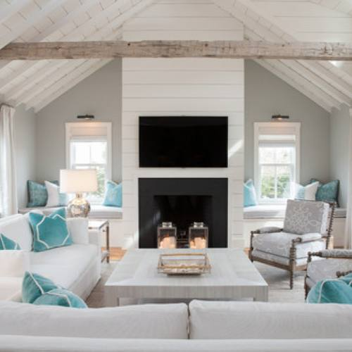 Coastal turqoise accent living room by Carolyn Thayer interiors