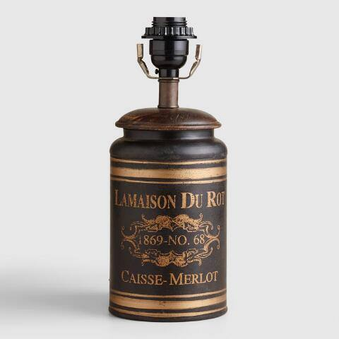 Black French Canister Accent Lamp