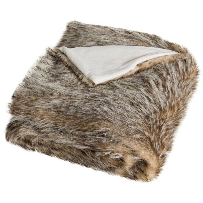 Faux Fur Vertical Stripe Throw