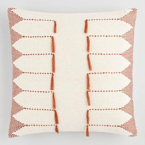 Rust Red Embroidered Tassel Throw Pillow