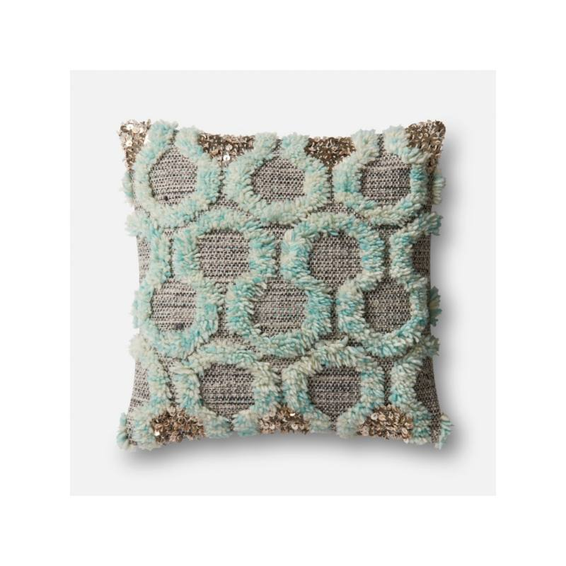 Justina Blakeney Hex Frill Pillow, Turquoise