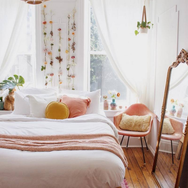 Mid-century meets Boho cute bedroom
