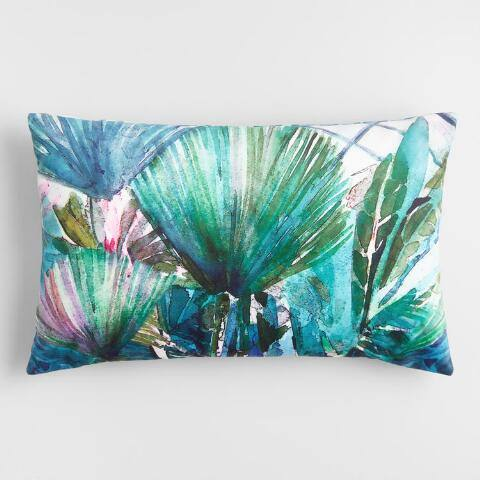 Oversized Palm Leaves Printed Lumbar Pillow