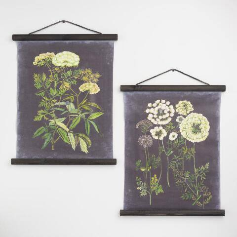 Black Botanical Linen Scroll Wall Hangings Set of 2