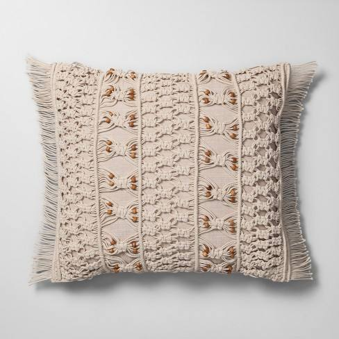 Macrame With Wood Beads Throw Pillow Neutral - Opalhouse�