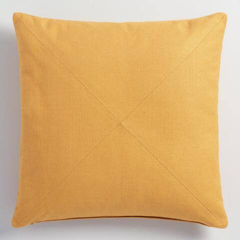 Gold Herringbone Cotton Throw Pillow