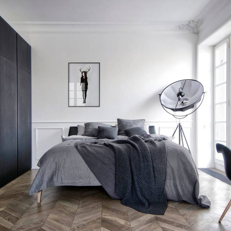 Modern minimalist grey apartment bedroom