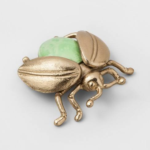 "6.3"" x 2.2"" Decorative Metal Scarab Figurine Gold/Green - Opalhouse�"