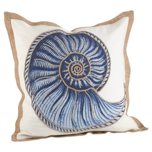 "Navy Blue Spiral Shell Print Cotton Throw Pillow (20"") - Saro Lifestyle�"