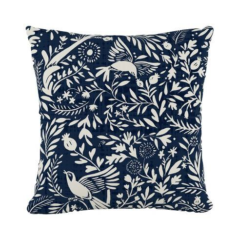 Navy Bird Print Throw Pillow - Cloth & Co.