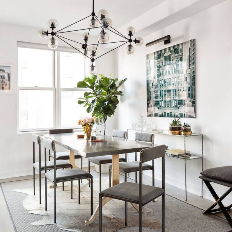 Home Decorating Idea: modern industrial dining room with elegant contemporary lighting