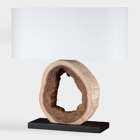 Organic Tree Log Table Lamp and Shade Set