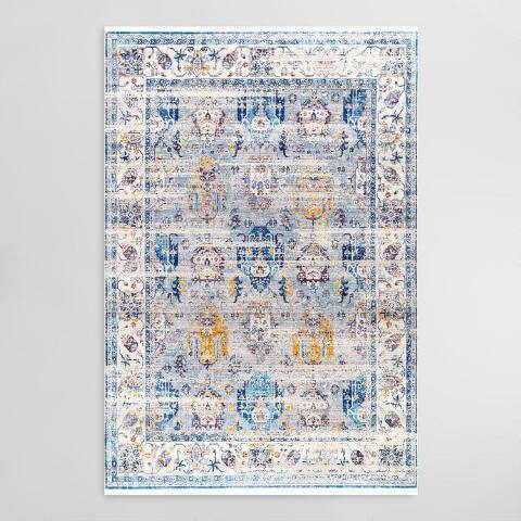 Blue and Gold Antiqued Floral Fringe Area Rug