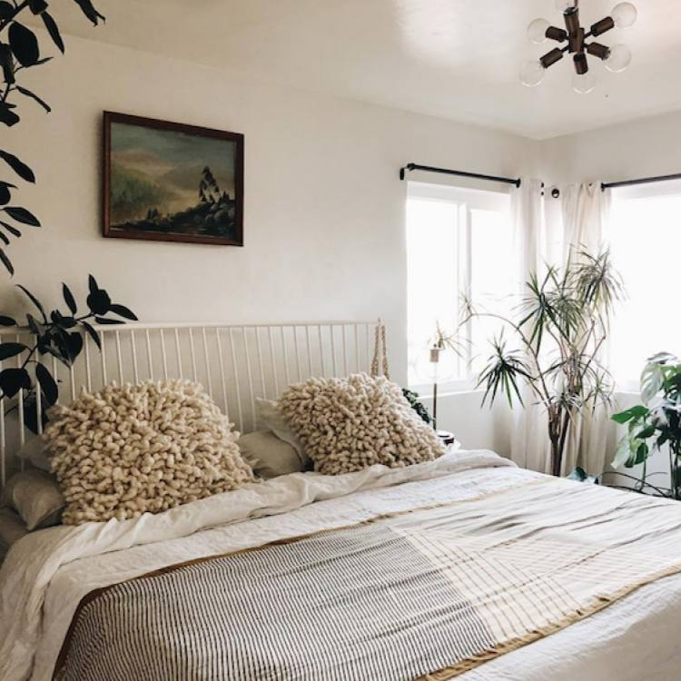 Relaxed boho bedroom with neutral cozy colors