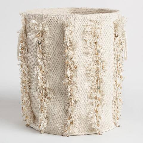 Fringed Fabric Nadia Tote Basket