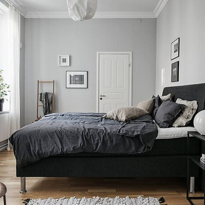 Blue and Grey Scandinavian Bedroom