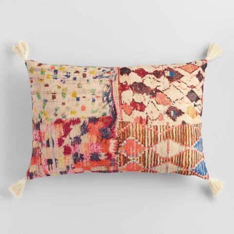 Oversized Multicolor Abstract Patchwork Lumbar Pillow
