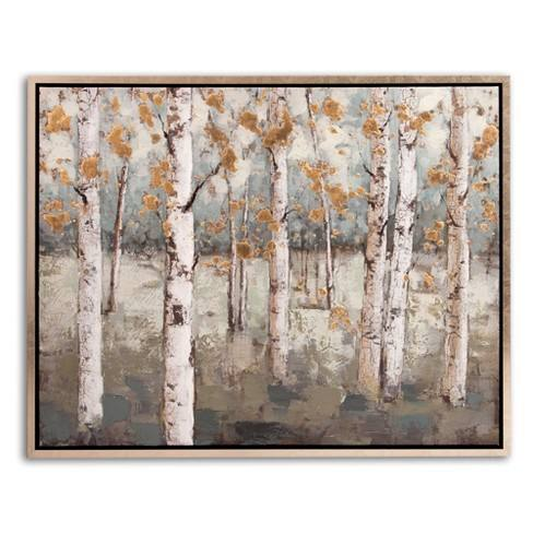 "30""x38"" Amongst The Birch Trees Framed Canvas Art Champagne - Patton Wall Decor"