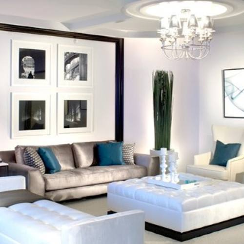 Silver contemporary living room with teal accents
