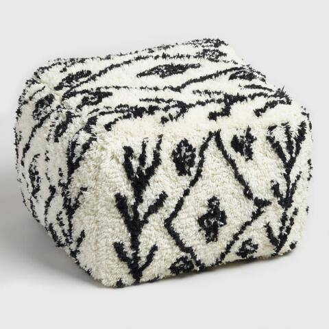 Black and White Shag Wool Pouf