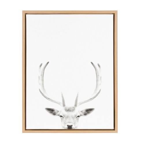 "Kate & Laurel 24""x18"" Sylvie Deer with Antlers And Portrait By Simon Te Tai Framed Wall Canvas Wood"