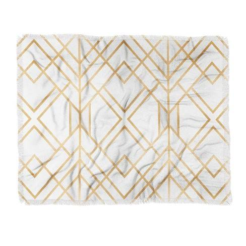 "60""X50"" Elisabeth Fredriksson Geo Throw Blanket Light Gold - Deny Designs"