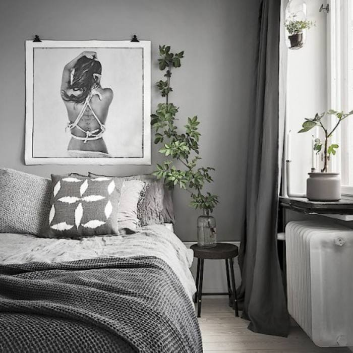 Gray Scandinavian Apartment Bedroom