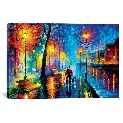 "18""x26"" Melody Of The Night by Leonid Afremov Unframed Wall Canvas Print Blue Parrot - iCanvas"