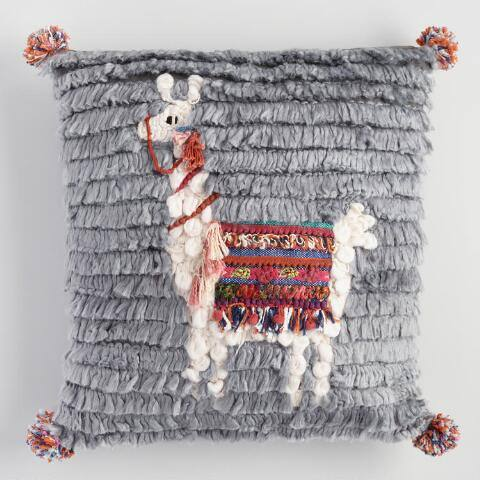 Gray Llama Shag Throw Pillow