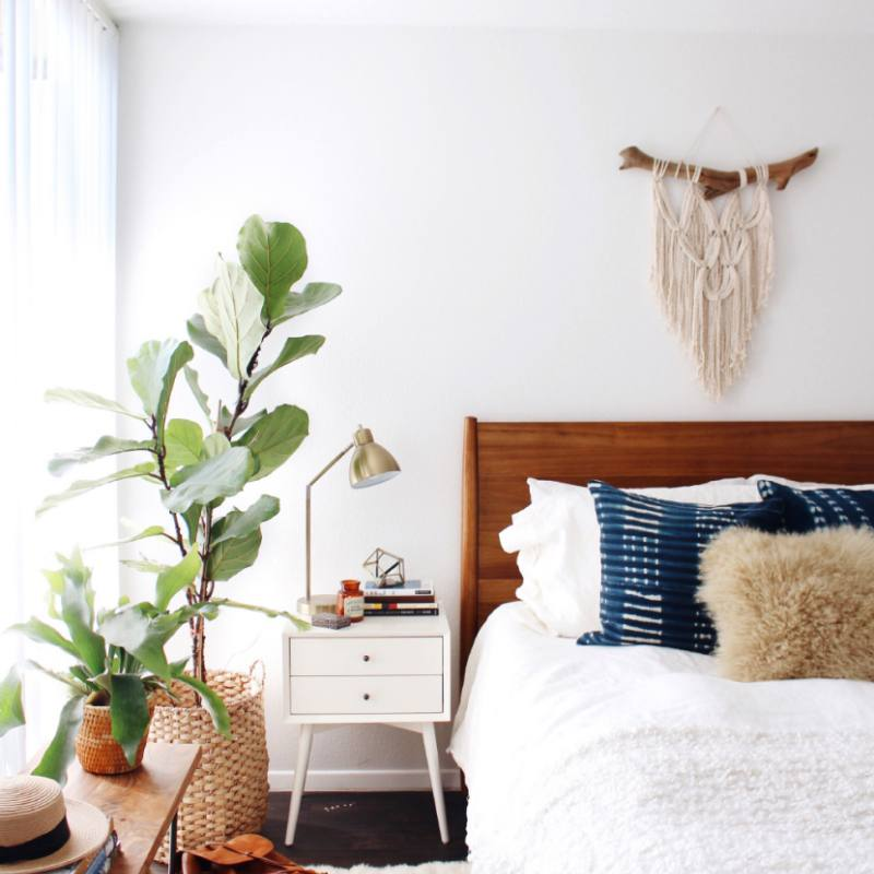 Bright modern boho chic bedroom