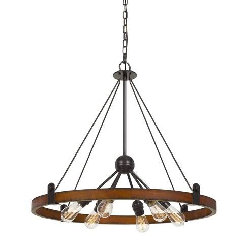 60W X 6 Lucca Wood/Metal Chandelier Ceiling Light (Edison Bulbs Not Included) - Cal Lighting
