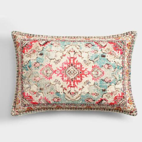 Oversized Warm Carpet Print Lumbar Pillow