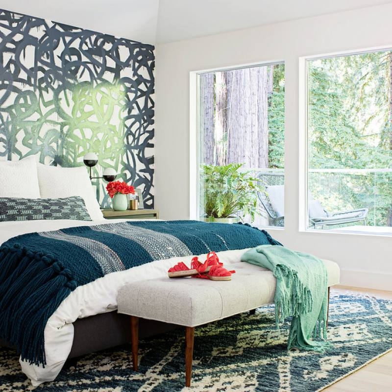 Teal and navy accented regan baker bedroom