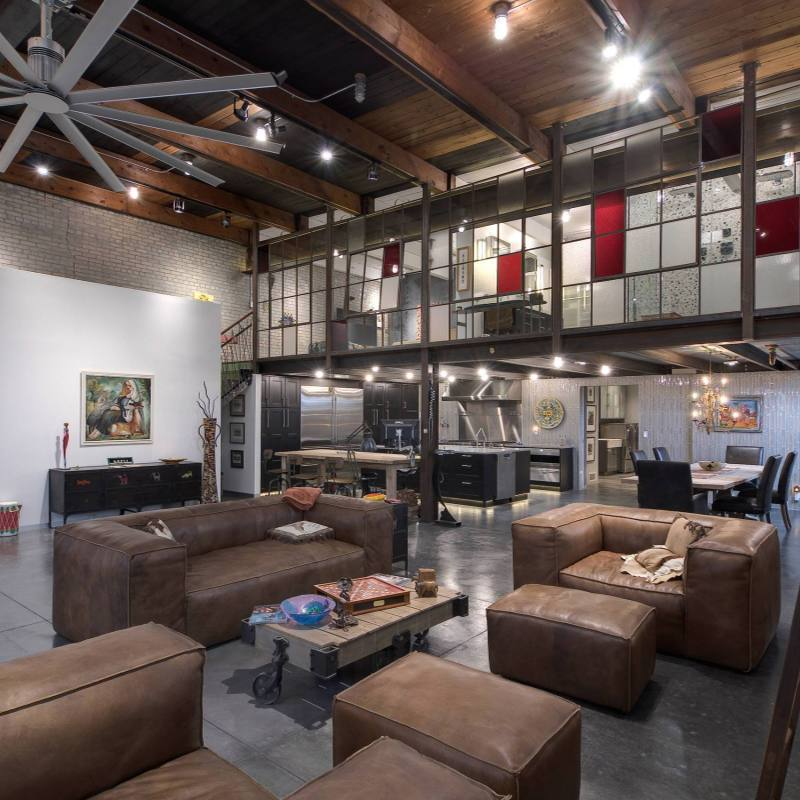 Modern industrial loft living room