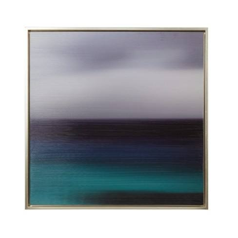 "31.6""X31.6"" Blue Seascape Heavy Brush Gel Coat Framed Wall Canvas Blue"